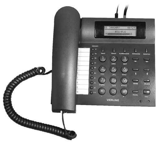 Рис. 4. Передняя панель и кнопки телефона.  На схеме трубка телефона снята, кабель для подключения трубки к телефону...